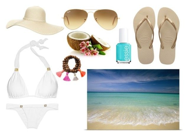 vacation beach day by saracantillo on Polyvore featuring ViX, Havaianas, Gold & Gray, Ray-Ban, Reger by Janet Reger and Essie