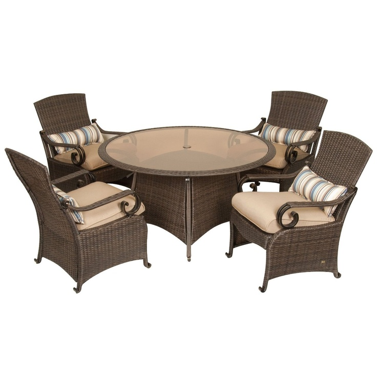 La-Z-Boy Outdoor Lake Como 5 Piece Resin Wicker Patio Furniture Dining Set  (Khaki Tan): Four Dining Chairs and Dining Table, With All Weather Sunsharp  ... - 41 Best Garden - Patio Furniture & Accessories Images On Pinterest