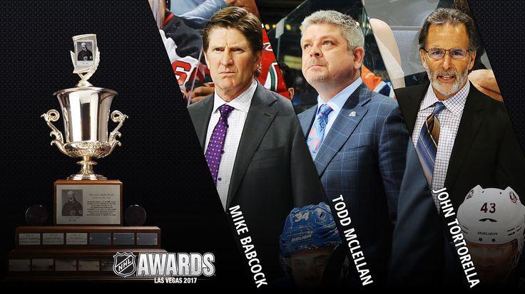 JACK ADAMS AWARD:  Jack Adams Award finalists unveiled  Mike Babcock of Maple Leafs, Todd McLellan of Oilers, John Tortorella of Blue Jackets vie for coach of year honors  -  April 26, 2017