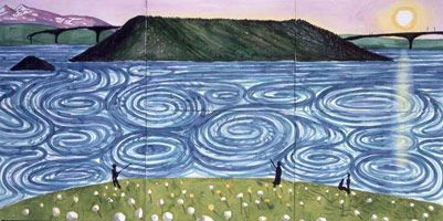 """David Hockney """"The Maelstrom"""" Bodo, 2002 watercolour on paper (6 sheets) 36 x 72 in. (91.5 x 183 cm) Private collection"""