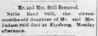 Genealogical Gems: Sunday's Obituary: Little Nellie Still