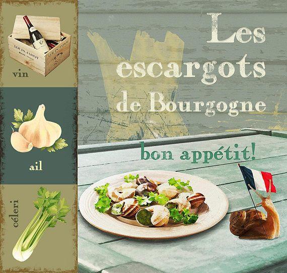 Les escargots de bourgogne  Digital Download Art kitchen