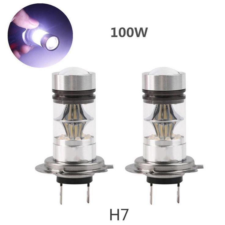 2pcs H7 100W High Car LED Fog Tail Driving Light Lamp Bulb 6000-6500K 1800LM Car Replacement Fog Lamp White Bright 12-24V