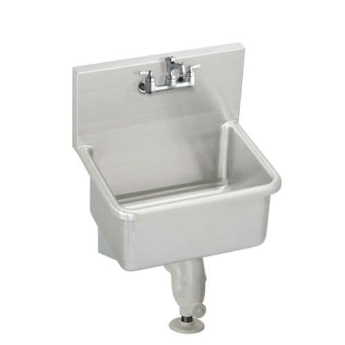 """Elkay ESSB2520C Stainless Steel (Silver) 25"""" x 19-1/2"""" Wall Mount Service Sink Package with Commercial Faucet and Drain Fitting"""