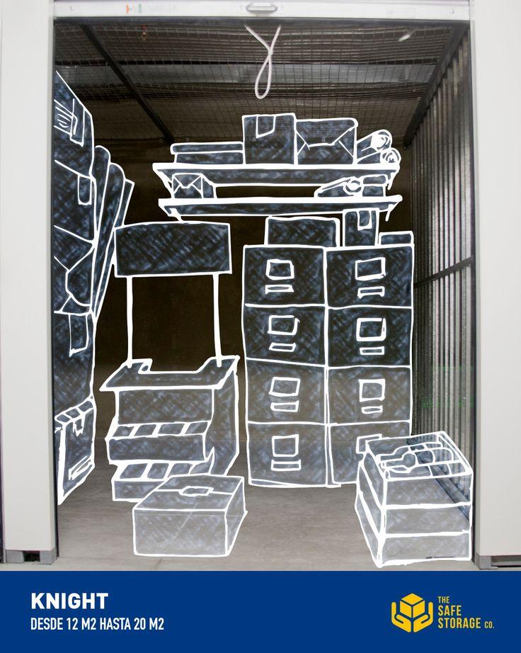 Knight   Área similar a la de un garaje para un auto grande, se puede distribuir muebles de un departamento de 3 dormitorios, incluyendo línea blanca, moto, cajas, o incluso un bote.