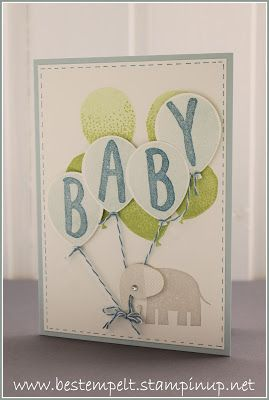 Stampin Up! Babykarte, Baby, Card, Layered letters Alphabet, zoo babies, ballonparty,  Ballonstanze, wink of stella