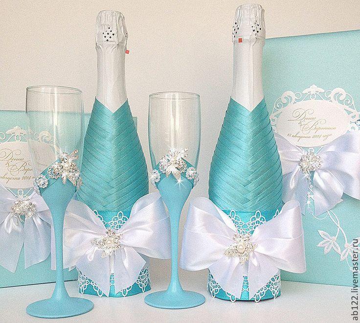 Купить Свадебный набор бирюзовый - бирюзовый, свадебные аксессуары, свадебные бокалы, свадебная книга пожеланий