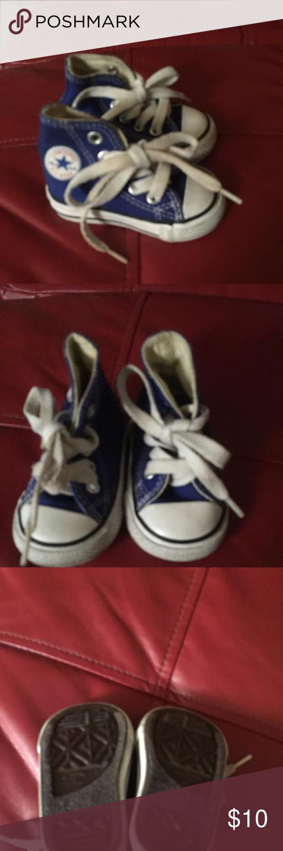 High top chucks Royal blue high top chucks, these are in great condition.  My son didn't get much wear out of these at all.  Chucks are everyone's fave sneaker and goes great in any little boys wardrobe.  I don't have the box for these. Converse Shoes