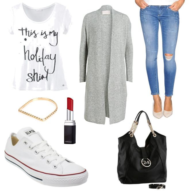 GMK Outfit  Guido Maria Kretschmer - #ootd #outfit #fashion #oneoutfitperday #fashionblogger #fashionbloggerde #frauenoutfit #herbstoutfit - Frauen Outfit Herbst Outfit Outfit des Tages Artdeco By Boe Converse Guido Maria Kretschmer Leder Lippenstift LTB Ring Schwarz Shopper Shopping Queen T-Shirt weiss