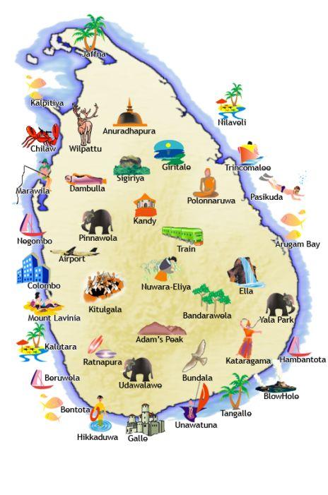 Map of key locations in Sri Lanka