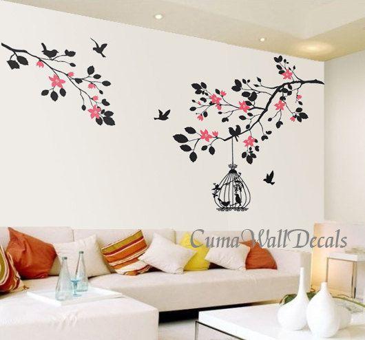 tree wall decals flower vinyl wall decals wall mural birds by cuma, $45.00