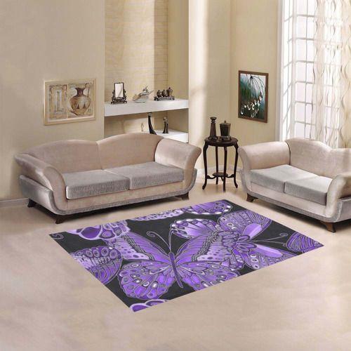 Purple Butterfly Pattern Area Rug 5'3''x4'