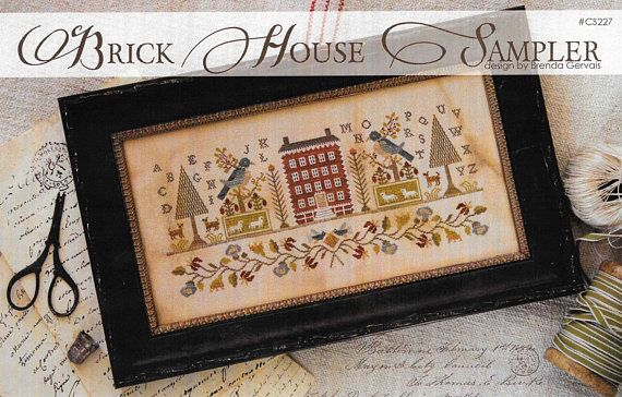 Counted cross stitch pattern brick house sampler country stitches
