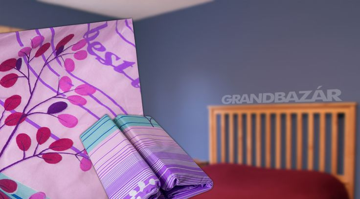 3 részes lila-pink csíkos, feliratos ágynemű garnitúra (106)