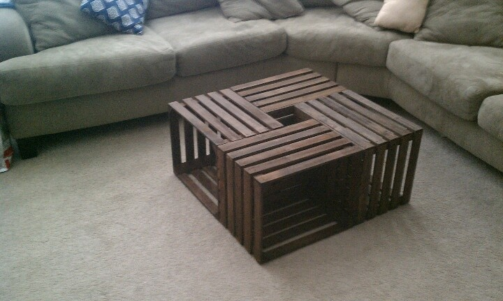 27 best images about fruit crates on pinterest diy bed for Table made from crates