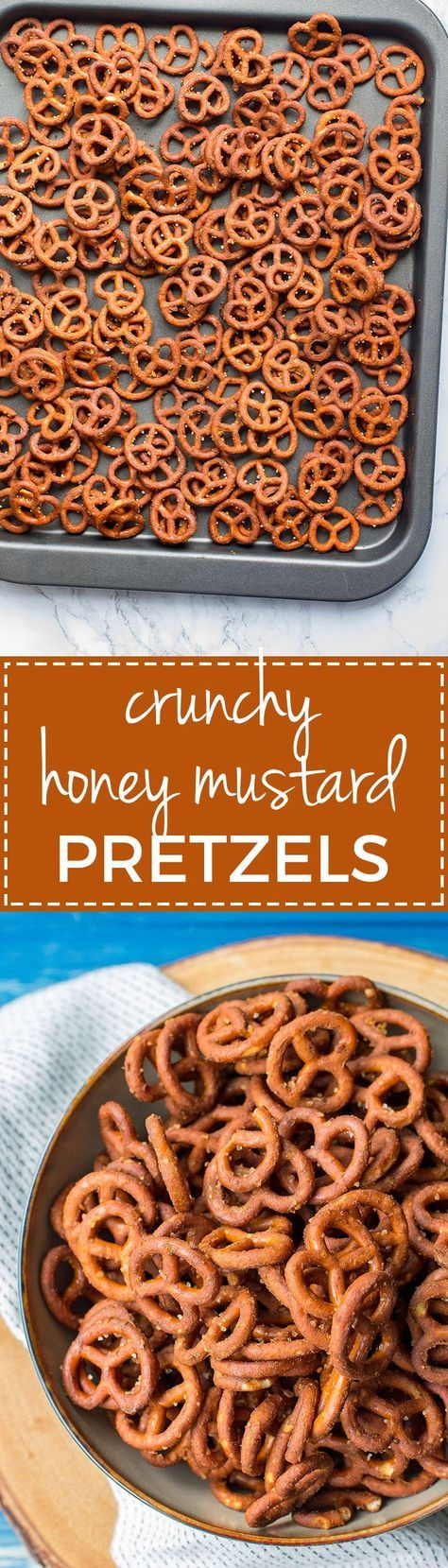 Crunchy honey mustard pretzels | A simple, easy, addictive snack for game day or after school treats. #footballsnacks #seasonedpretzels