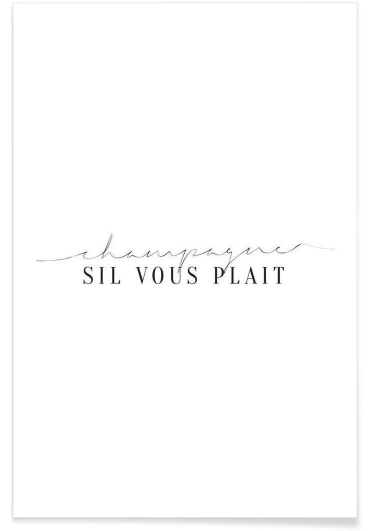 Champagne Sil Vous Plait als Premium Poster von Letters on Love | JUNIQE