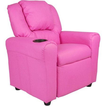 Flash Furniture Kids' Vinyl Recliner with Cupholder and Headrest, Multiple Colors, Pink