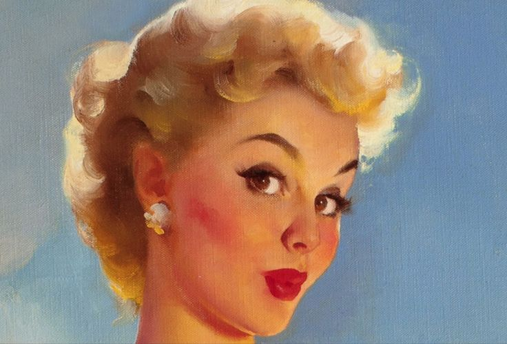 Gil Elvgren (American, 1914-1980) Daisies Are Telling (detail)