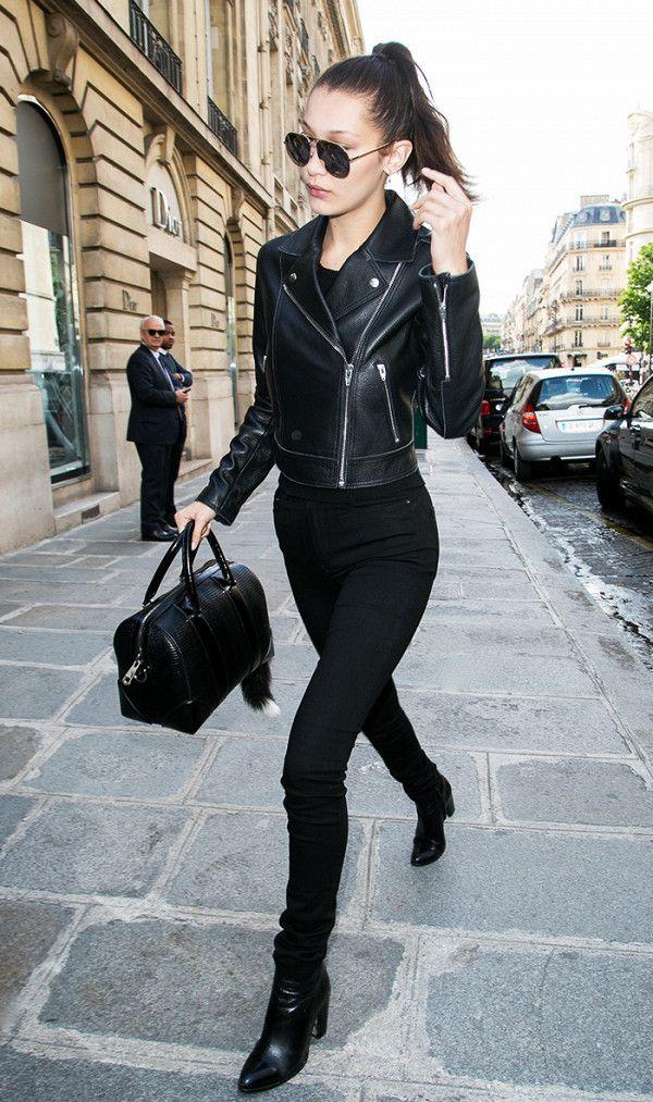 Bella Hadid looks cool in all-black.
