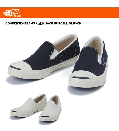 Special edition CONVERSE × BEAMS JACK PURCELL SLIP-ON Available in Men's US Size 7 - 10.5 US$130  #converse #jackpurcell #sneakers #beams #slipon #japan #fashion