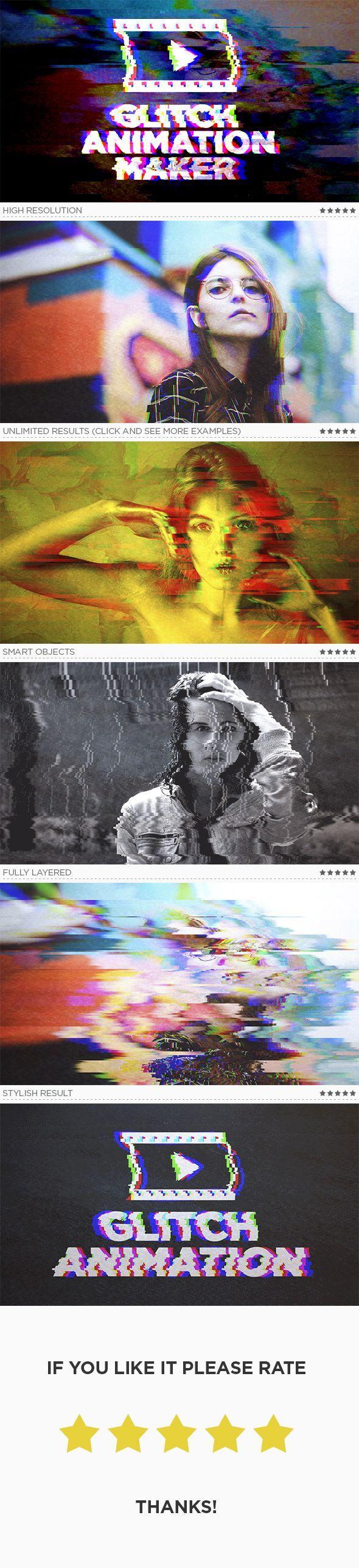 Glitch Animation Maker Photoshop Action