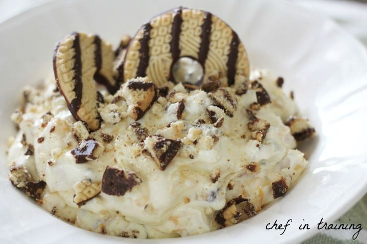Cookie Dessert Salad! One of my favorite recipes for potlucks and get togethers! Seriously SO delicious!