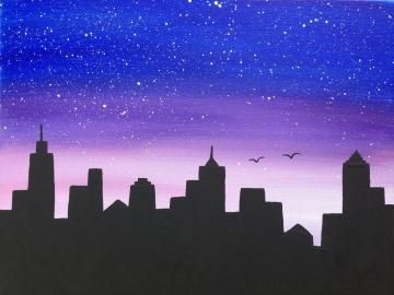 Cityscape,night scene,silhouette,16x20,black painting,blue painting,wall art,canvas art,star painting,bird painting