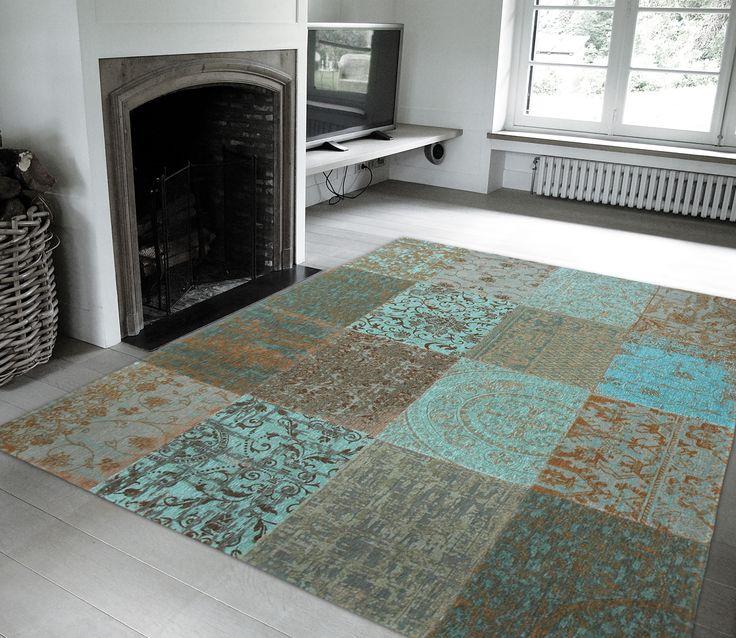 Voorbeeld van Vintage vloerkleed Sea blue, diverse afmetingen