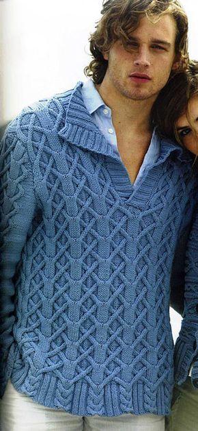 Мужской свитер (пуловер) вязаный спицами красивым и оригинальным узором. Такой свитер смотрится не только красиво, но и дорого.