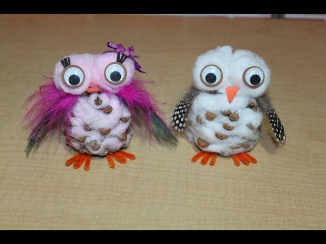 Snowy Pinecone Owl Craft (SHORT VERSION) Tutorial Homeschool Fun Friday!
