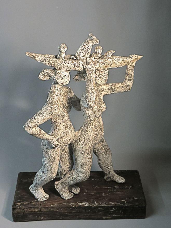 "Ingrid Dusselberg, ""Together"", 61x45x20cm, ceramic, slip surface"
