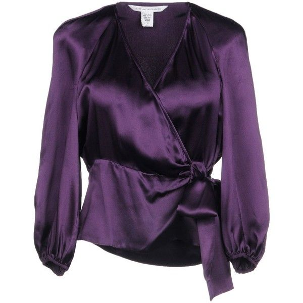 Diane Von Furstenberg Blouse (785 ILS) ❤ liked on Polyvore featuring tops, blouses, purple, long sleeve blouse, long sleeve tops, purple long sleeve top, tie belt and purple top