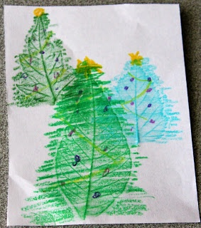 Christmas Craft for kids: Christmas tree card. Leaf Rubbing - Tiger Requirement