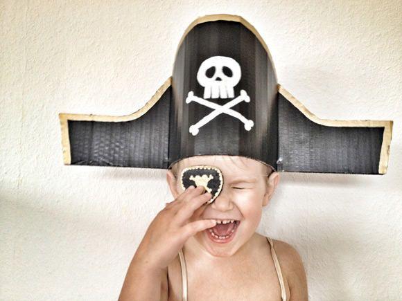 Kids Halloween Costume - DIY Cardboard Pirate Hat