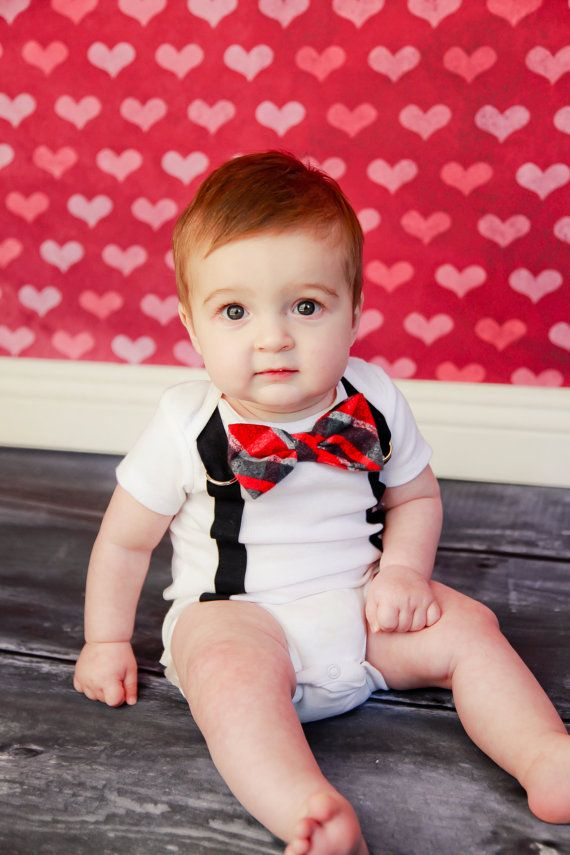 PICK YOUR OWN - Valentines Day Boys Bow Tie Onesie or Shirt with Suspenders - Photo Prop, Baby Boy Gift, Valentine. $19.00, via Etsy.