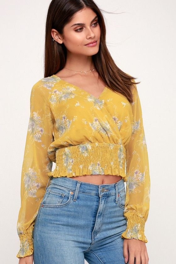 ed7c5a1c16e631 The 4SI3NNA Joni Mustard Yellow Floral Print Surplice Top is ready! Gauzy  woven fabric sweeps down the surplice bodice into a smocked ruffled hem.