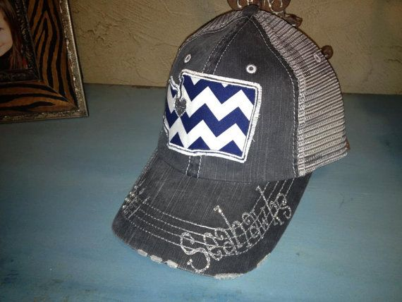 Seattle Seahawks Football Washington State Baseball Bling Ladies Womens Trucker Hat on Etsy, $36.00