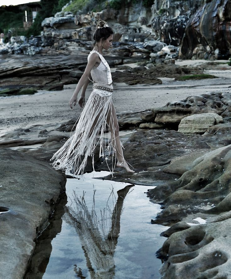 Hand made crochet dress with sequin beading in our latest beach shoot