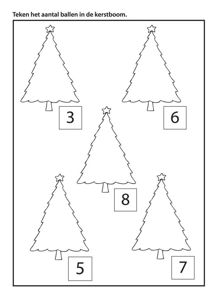 * Teken het aantal ballen in de kerstboom