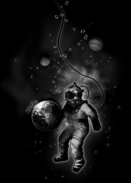 Deep Sea Space Diver #deep #sea #space #diver #astronaut #surreal #planets #earth #illustration