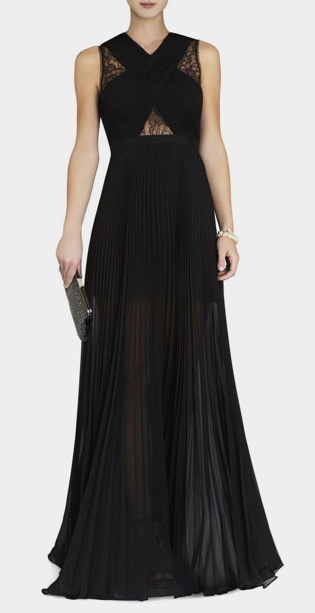 BCBG Max Azria  Caia Chiffon Pleated Gown siyah -abiye- dugun-nisan -davet -epbise -black