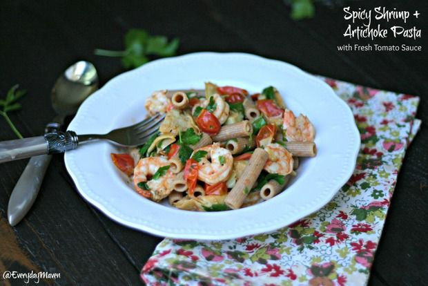 Spicy Shrimp   Artichoke Pasta with Fresh Tomato Sauce - skip the wine and use whole grain or brown rice pasta