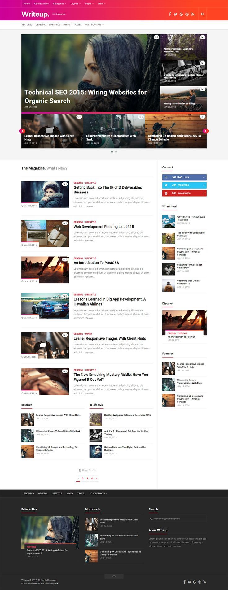 Writeup is a colorful responsive high resolution magazine, news & blog theme. With unique slide-toggle sidebars and modern gradient styles, the viewing and reading experience is fantastic on all devices. Built on a foundation loved by thousands, this theme will inspire you to write. https://themeforest.net/item/writeup-responsive-wordpress-magazine-theme/19468273?ref=rabosch
