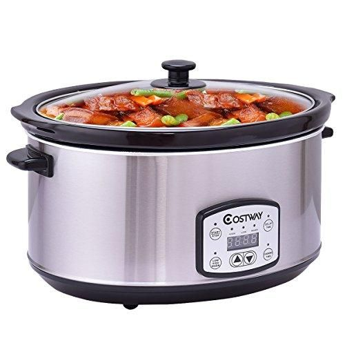 7 Quart Slow Cooker Programmable Oval Stainless Steel Slow Cooker w/ Digital Timer