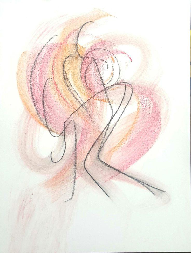 춤을 추는 여성의 모습을 펜과 파스텔로 표현하였습니다.