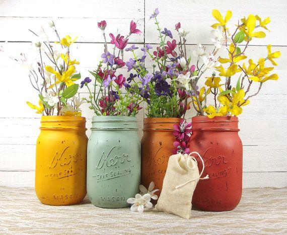 Southwestern Decor, Home Accent, Rustic Home Decor, Tabletop Decor, Painted Mason Jars, Decorative Mason Jars, Home Decorating