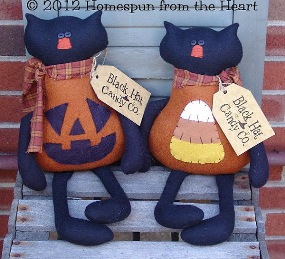 Primitive Halloween Cat Sitters JOL and Candy by CindysHomespun, $5.50