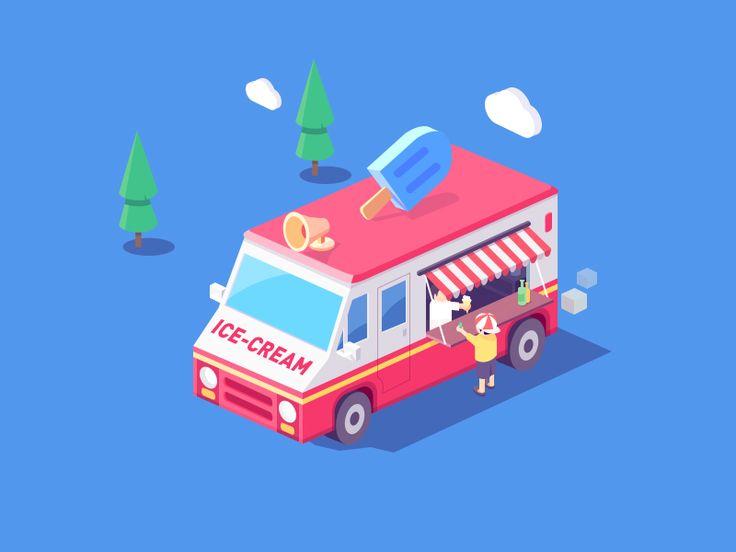 ice-cream car by Rwds #Design Popular #Dribbble #shots
