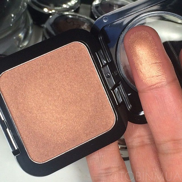 """New Spring Blush in Beach Babe from @NYX Cosmetics "" Looks like a more metallic version of MAC trace gold If you have darker skin tones this will be a gorgeous highlight..."